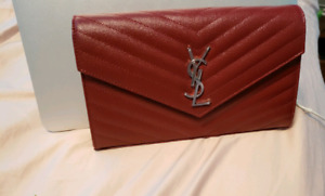Brand New Wine Red YSL Wallet on chain WOC