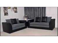 Black & grey leather & fabric sofa left & right 32 always in stock