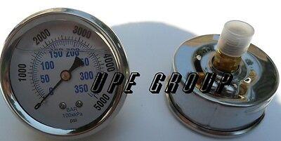 Liquid Filled Pressure Gauge Compressor Hydraulic 2.5face 5000 Psi Back Mt 14