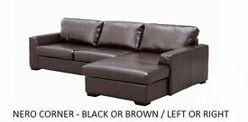 brand new Nero corner sofa black or brown plus many others + now bed beds all sofas guaranteed