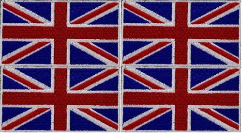 4 x UK FLAG PATCH embroidered iron-on UNION JACK GB ENGLAND