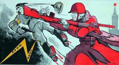 Hitler Propaganda Posters (NICE Color WW2 Soviet Russian Propaganda Poster Soldier Stop Hitler SVT-40 Rifle )