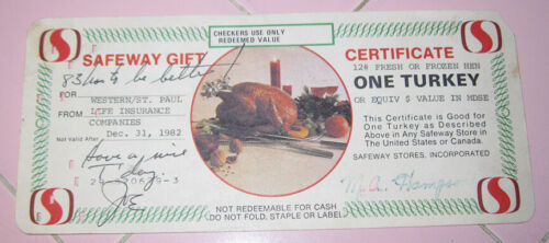1982 Safeway Gift Certificate Turkey Computer Punch Card Christmas Thanksgiving