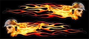 Flaming SKULL Orange Flames Custom Sticker Decal, Novelty, Funny, Adhesive