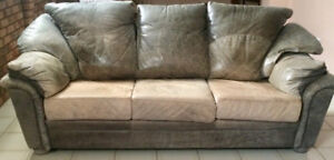 2 Raw Hide Leather Sofas