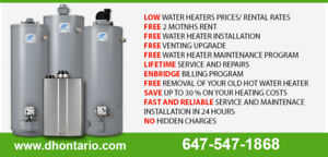Water Heater Rental - Reduced Rental Rates - Call Today >>>>>>>>