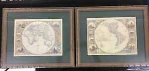 Glass framed Eastern and Western Hemisphere Map prints. $100 ONO Mornington Clarence Area Preview