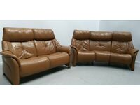 Himolla Stressless Leather Curve 3 seat & 2 seater electric recliner sofas 24221