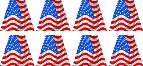 Reflective Firefighter Helmet USA Flag Trapezoids