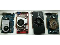 Set of 4 video cards. Non working. For parts only.