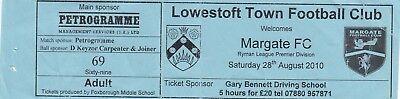 Ticket - Lowestoft v Margate 28.08.10