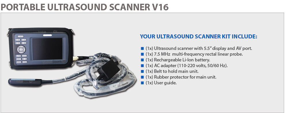 NEW PORTABLE ULTRASOUND SCANNER VETERINARY PREGNANCY V16 WITH 7.5 MHZ RECTAL LINEAR.