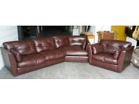 DFS Brown Thick Leather Distressed Style Corner Sofa Set .WE DELIVER