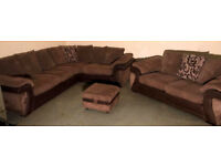 Corner sofa with 2 seater and footstool-brown.