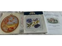 3different charts for stitching - charts only. Puppies, countryside, pansy and butterfly.