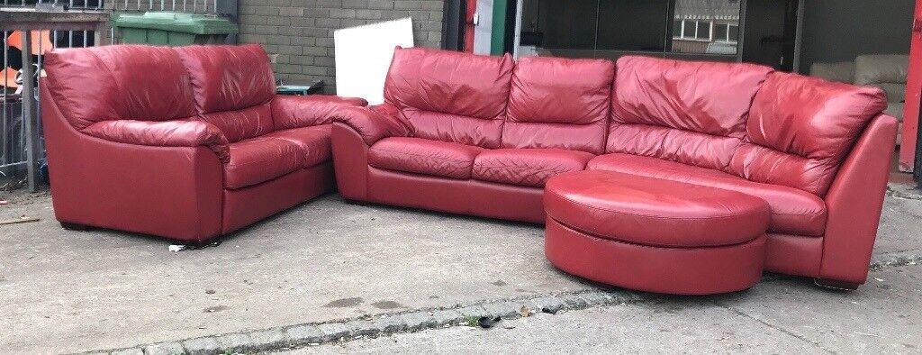 Red leather corner sofa set CAN DELIVER   in Aston, West Midlands ...