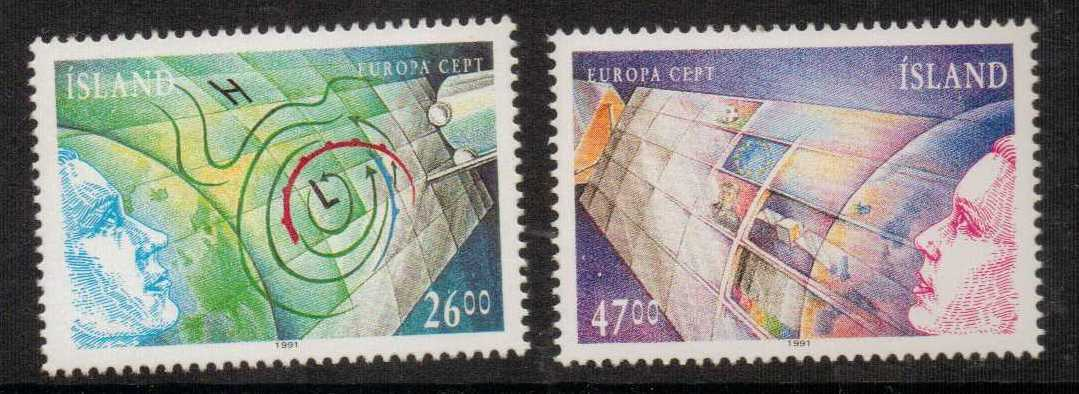 ICELAND SG767/8 1991 EUROPA EUROPE IN SPACE   MNH