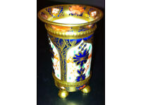 Rare Royal Crown Derby Old Imari 1128 Solid Gold Band Miniature Footed Vase