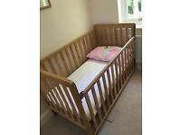 East Coast dropside Cot and Cotbed with Deluxe mattress. Like new, used 3 times.