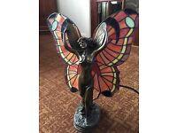 Art Deco Fairy Table Lamp Tiffany Style Butterfly Shade