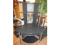 GOOD CONDITION, A NICE BLACK AND CHROME CORNER COMPUTER DESK