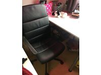 BLACK COMPUTER CHAIR + DESK (IKEA)