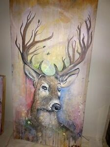 Deer portrait painting for sale !
