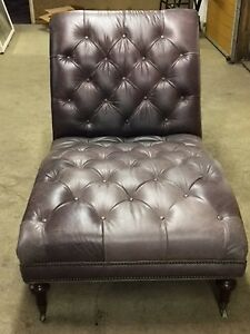 Tufted Grey Leather Chaise Lounge