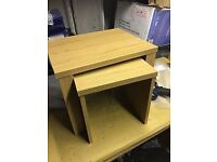 Oak Effect nest tables As new condition