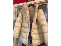 Size 16 Cream Coat with fur hood