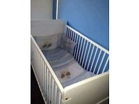 Wardrobe unit cot bed set with mattress and bedding