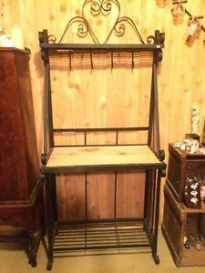 Habdcrafted Wrought Iron Bakers Rack