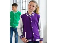 5x JH043 AWDis Kids Varsity Jackets **JOB LOT**