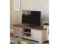 NEW Devon Ivory/Walnut TV Cabinet holds up to a 60inch TV