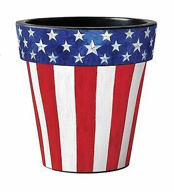 "Stars and Stripes Forever 12"" Art Planter, Patriotic Planter, Outside Planter"
