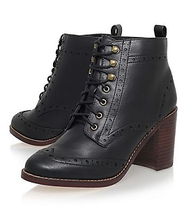 Kurt Geiger Black Lace Leather Boots - Brand New from London UK