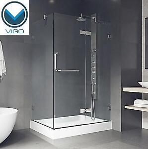 """NEW VIGO FRAMELESS SHOWER ENCLOSURE VG6011CHCL40WR 200690785 32"""" x 40"""" IN CHROME WITH RIGHT DRAIN BASE"""