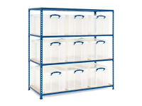 9 x 84 litre Really Useful Box shelving unit