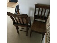 4 x Old Wooden Church Chairs, £120ono