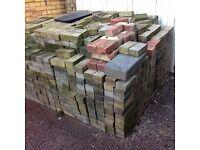 Red block paving bricks