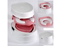 Tippitoes Luxury Soft Seat Trainer 3 IN 1 Potty combines potty toilet trainer seat and step up stool
