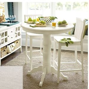 3 Ronan Antique White Bar Stools and Table from Pier 1