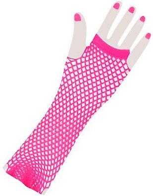 Adults Neon Pink 80s Punk Rock Fishnet Fingerless Long Gloves (Pink Fishnet Gloves)
