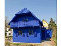 I'm looking for a blue house with the blue windows