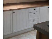 White Kitchen Drawer Unit and White Single Base Unit