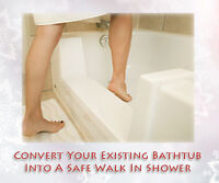 Convert your bathtub into a safe step in shower