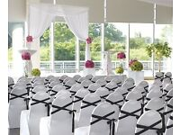 **50P CHAIR COVER HIRE & SASH HIRE ***FREE TABLE RUNNERS WITH EACH ORDER***