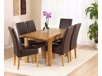 BRAND NEW - OAK EXTENDING TABLE AND 6 CHAIRS -QUALITY ASSURANCE -SAME DAY