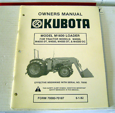 Kubota M1830 Front Loader Operator Maintenance Manual
