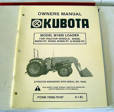 Kubota M1830 Front Loader Operator Maintenance Manual